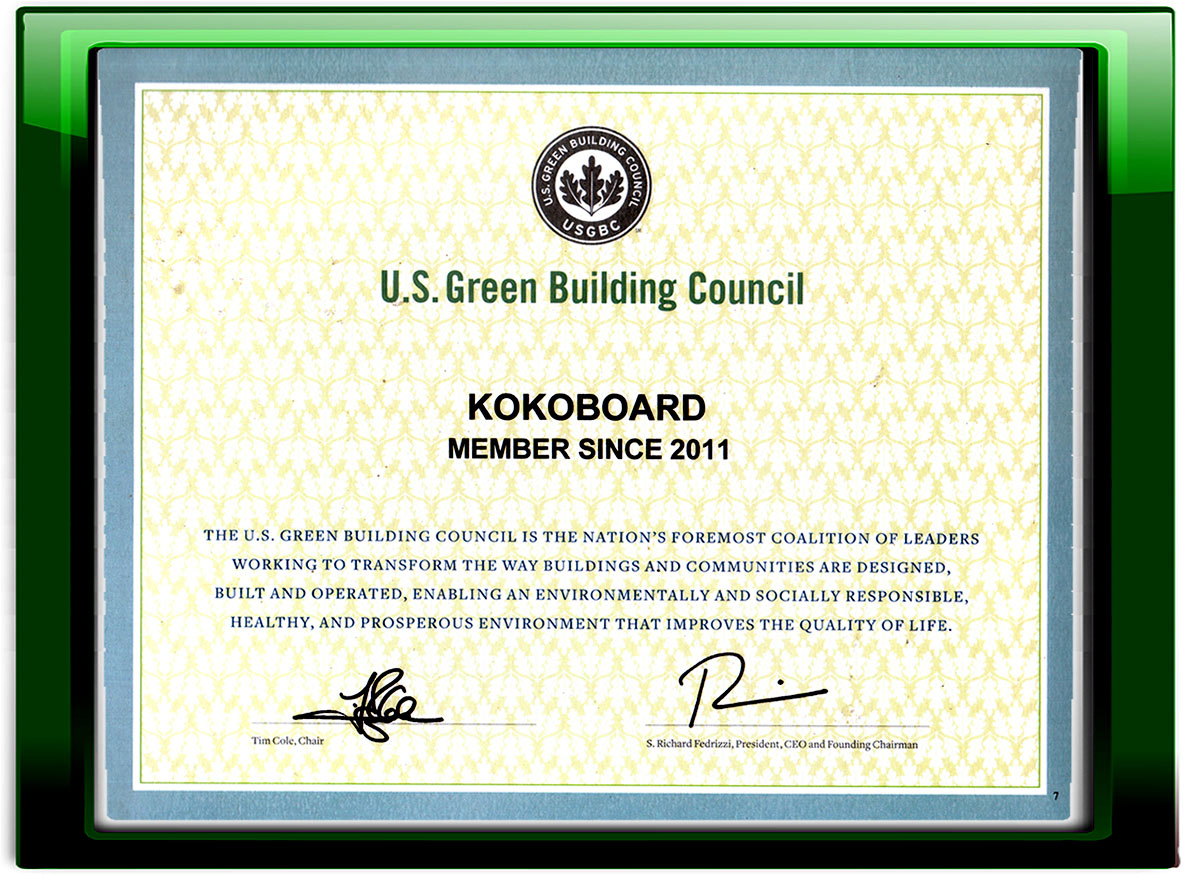 Certificates kokoboard material by the field for interior and member of us green building council certificate by usgbc xflitez Choice Image